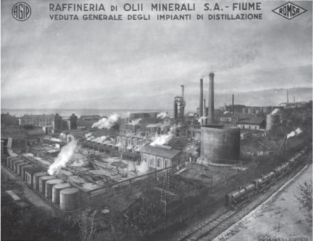Fotografija riječke rafinerije nafte oko 1930. godine