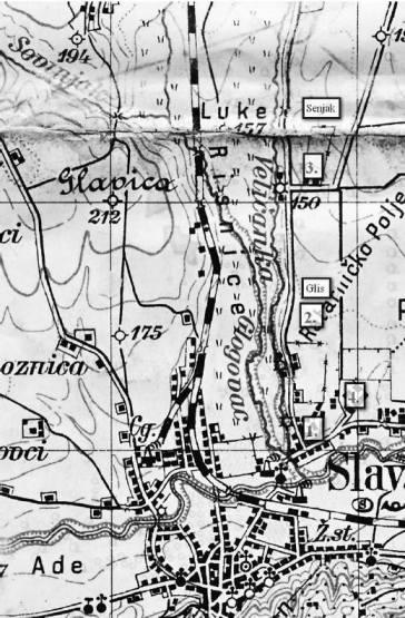Zemljovid Glisa, kvarta u kojemu se logor nalazio.