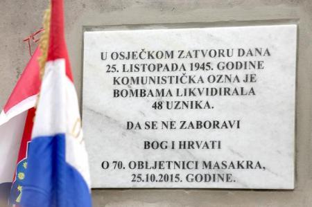 snimio Davor KIBEL, Osijek, 25.10.2016.  zgrada Zatvora u Neumanovoj - otkrivanje spomen ploèe žrtvama masovne likvidacije zatoèenika 1945. godine