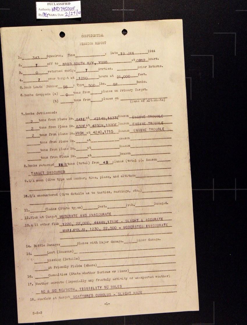 Izvješće o zračnom napadu na Sl. Brod 19. 01. 1944.
