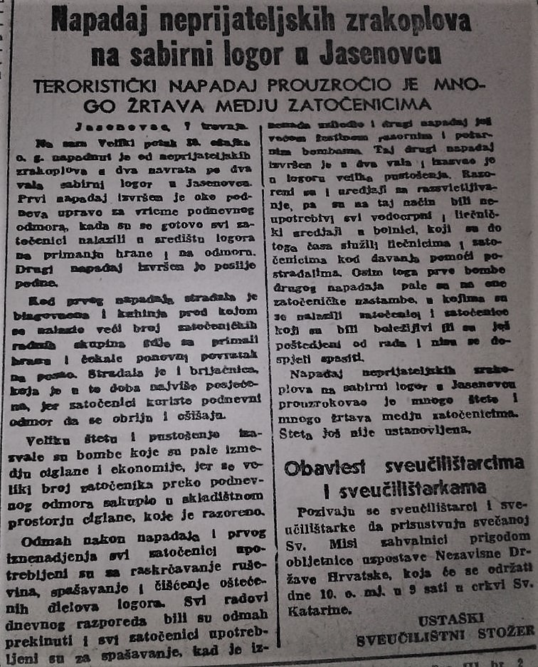 Foto iz novina - o zračnom napadu na radni logor Jasenovac