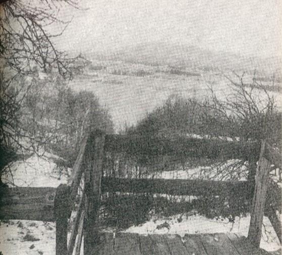 Pogled ispred crkve Sv. Ane na umjetno jezero, kojim su sakrili teharski logor, svibanj 1989.