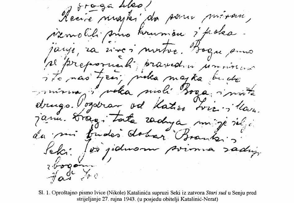 Oproštajno pismo Ivice Katalinića supruzi Seki