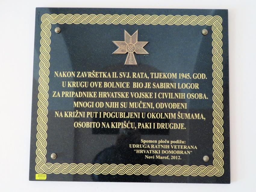 Spomen ploča postavljena 2012 u novomarovskoj bolnici